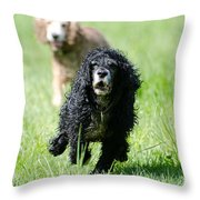 Dogs Running On The Green Field Throw Pillow