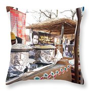Doing Vendor Duty At Food Stalls In The Surajkand Mela Throw Pillow