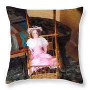 Doll In Carriage Throw Pillow