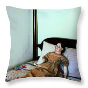 Doll On Four Poster Bed Throw Pillow