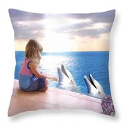 Dolphin Family Throw Pillow