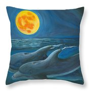 Dolphin Moon Painting By Bev Veals