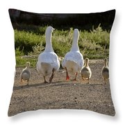 Domestic Geese With Goslings Throw Pillow