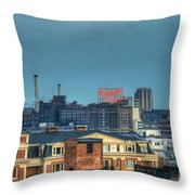 Domino Sugars Sign Day Throw Pillow