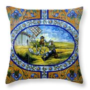 Don Quixote In Spanish Tile Throw Pillow