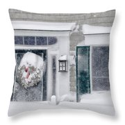 Door And Window Of Cape Cod Home During Blizzard Of '05 Throw Pillow
