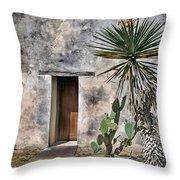 Door In Spanish Mission Building Throw Pillow