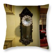 Door Looking Into Christmas Tree Throw Pillow by Sandra Cunningham