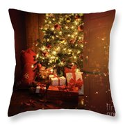 Door Opening Onto Nostalgic Christmas Scene   Throw Pillow