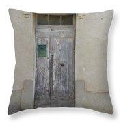 Door With Green Mailbox Throw Pillow