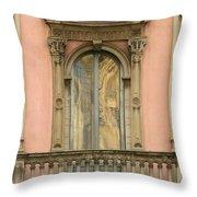 Doors Balcony And Duomo Reflection In Milan Italy Throw Pillow
