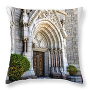 Doorway Sacred Heart Cathedral Throw Pillow