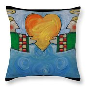Double Angels With Heart Throw Pillow