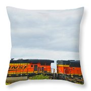 Double Bnsf Engines Throw Pillow
