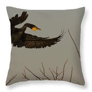 Double Crested Cormorant Coming Throw Pillow