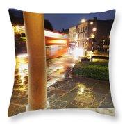 Double Decker Blur In The Rain Throw Pillow