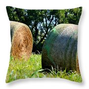 Double Hay Rolls Throw Pillow