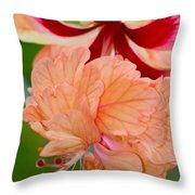 Double Hibiscus Throw Pillow