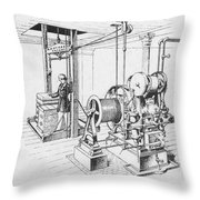 Double Oscillating Steam Engine Throw Pillow