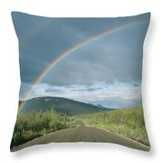 Double Rainbow Over The Denali Highway Throw Pillow