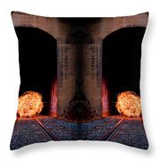 Double Tunnel On Fire Throw Pillow