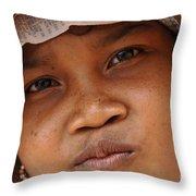 Cambodian Girl Throw Pillow
