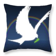 Dove Holding An Olive Branch With Throw Pillow