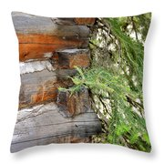 Dovetail Log Construction Throw Pillow