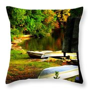 Down By The Riverside Throw Pillow by Karen Wiles
