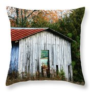 Down On The Farm - Old Shed Throw Pillow