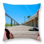 Down The Deck Throw Pillow
