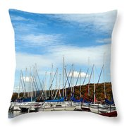 Down To The Docks Throw Pillow