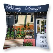 Downtown Beauty Lounge Throw Pillow