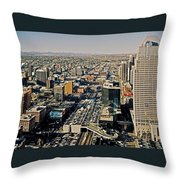Downtown Calgary With The Canadian Rockies ... Throw Pillow