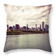Downtown Chicago Skyline Lakefront Throw Pillow