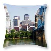 Downtown Cincinnati Skyline And Roebling Bridge Throw Pillow