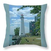 Downtown Detroit Lighthouse Throw Pillow
