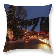 Downtown Jackson Hole At Night Throw Pillow