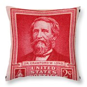 Dr Crawford W Long Postage Stamp Throw Pillow
