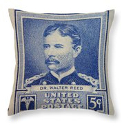 Dr Walter Reed Postage Stamp Throw Pillow