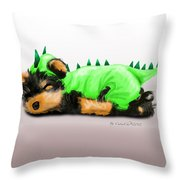 Dragon Baby Yorkie Throw Pillow