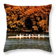 Dragon Boat On The Schuylkill Throw Pillow