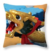Dragon Figurehad Of A Chinese Boat Throw Pillow