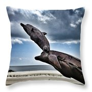 Dramatic Dolphins Throw Pillow
