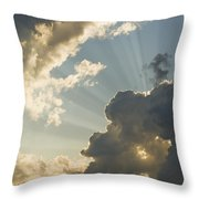 Dramatic Sunbeams And Storm Clouds Maine Photo Poster Print Throw Pillow