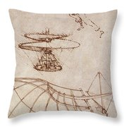 Drawings By Leonardo Divinci Throw Pillow
