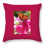 Dreaming Of Butterflies And Pink Flowers Throw Pillow