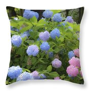 Dreamy Blue And Pink Hydrangeas Throw Pillow