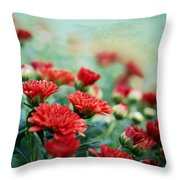 Dreamy Red Mums Throw Pillow
