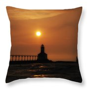 Dreamy Sunset At The Lighthouse Throw Pillow